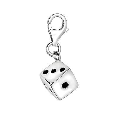 Quiges Charm Anhänger 3D Würfel 925 Silber mit Karabinerverschluss für  Bettelarmband 9246d96d2f