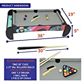Pool Table Tabletop - Mini Pool Table Set Billiards Table Top Game with Pool Balls, Cue Sticks, Chalk, Triangle and Brush, Easy Setup Portable Pool Games and Compact Size for Fun Anywhere