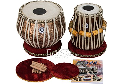 Maharaja Musicals Tabla, Concert Quality, 4 Kilograms Copper Bayan - Ganesha Design, Sheesham Dayan with Padded Bag, Book, Hammer, Cushions, Cover, Tabla Drum Set (PDI-CJD) by Maharaja Musicals