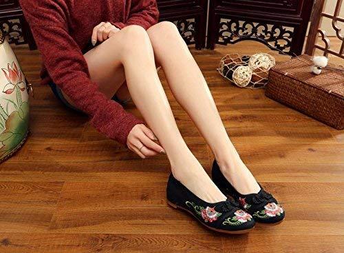 Mode Style Brodées 37 Désinvolte Fuxitoggo Chaussures coloré Taille Confortable Tissu En Tendon Noir Semelle Féminin Ethnique Iawzx5Hqw