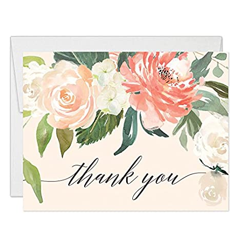 Amazon Com Peach Thank You Cards With Envelopes Pack Of 50 Pink