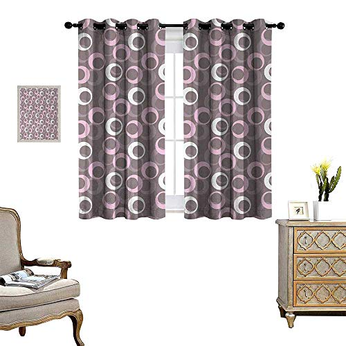 - Anyangeight Geometric Patterned Drape for Glass Door Circular Oval Round Pattern Vintage Traditional Design with Soft Tones Waterproof Window Curtain W72 x L45 Warm Taupe Pink Cream