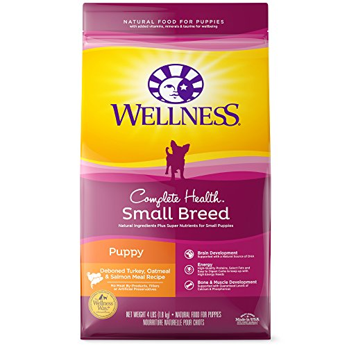 Wellness Complete Health Natural Dry Small Breed Puppy Food, Turkey, Salmon & Oatmeal, 4-Pound Bag (Best Puppy Food For Toy Breeds)