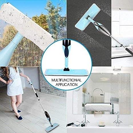 Rixow - Mopa azul claro con espray, limpiaparabrisas integrado para madera maciza, baldosas, laminado, y madera, para todo tipo de suelos: Amazon.es: Hogar