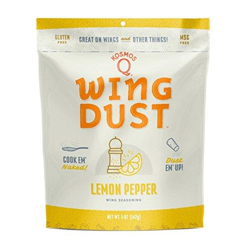 - Kosmos Q Lemon Pepper Wing Dust   MGS & Gluten-Free   Chicken Wing Seasoning   Dry BBQ Rub Spice   5 oz. Bag