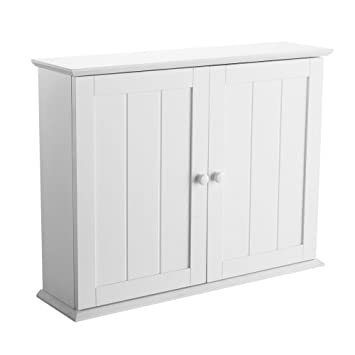 Denver White Wood Wall Mounted Bathroom Cabinet With Double Doors ...