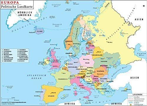 Cartina Delleuropa.Mappa Politica Dell Europa In Tedesco 91 4 Cm W X 70 4 Cm H Amazon It Cancelleria E Prodotti Per Ufficio