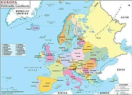 Mapa Politico De Europa En Aleman 36 W X 27 7 Cm H Amazon Es Oficina Y Papeleria