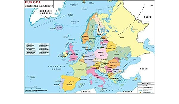 German Map Of Europe Amazon.: Political map of Europe in German (36