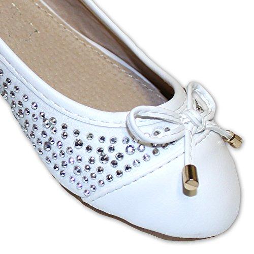 Jili Mädchen Ballerina weiß mit Nieten Weiß
