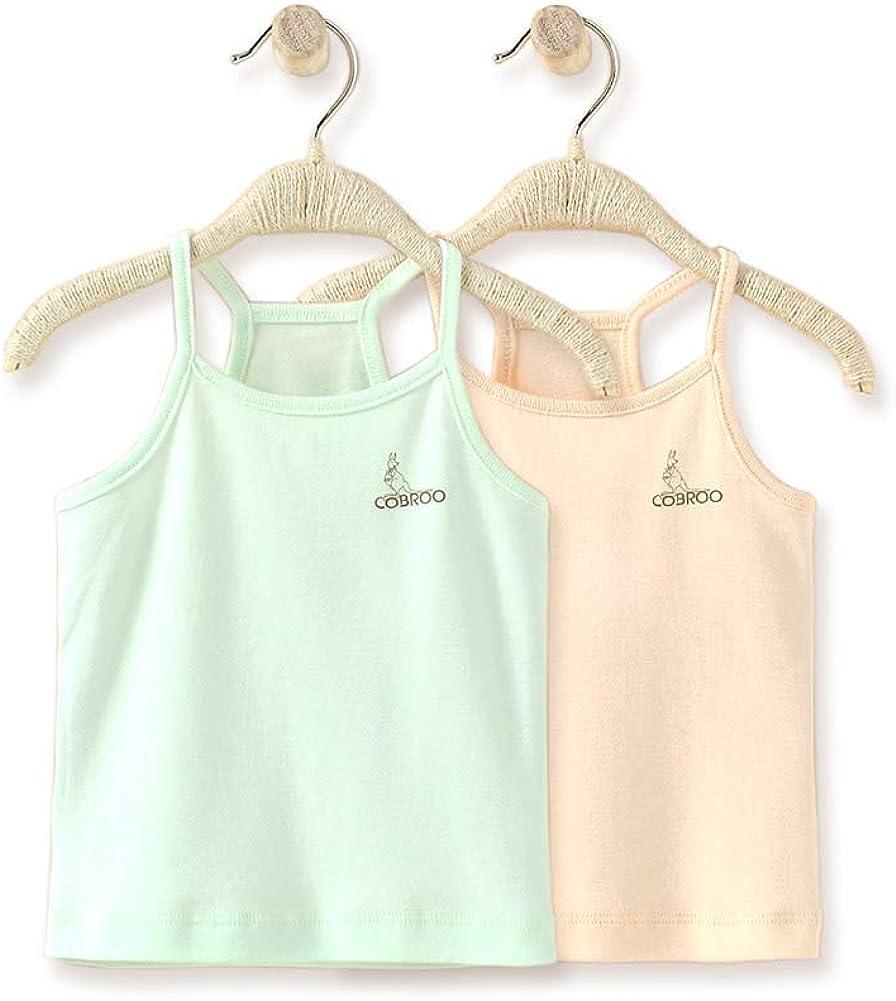 COBROO Newborn Baby Girls Tank Tops Cotton Sleeveless T-Shirts 2-Pack Cami Undershirt for 0-5 Years Infant Toddler