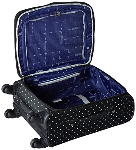 """Kenneth Cole Reaction Dot Matrix 20"""" 600d Polka Dot Polyester Expandable 4-Wheel Spinner Carry-on Luggage, Black"""
