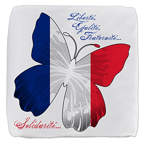 18 Inch 6-Sided Cube Ottoman French Flag Butterfly Solidarite by Truly Teague