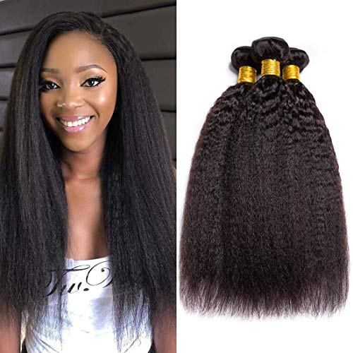 9A Kinky Straight Hair 3 Bundles Yaki Human Hair Weave Unprocessed Brazilian Virgin Remy Hair Extensions Natural Black (16 18 20)