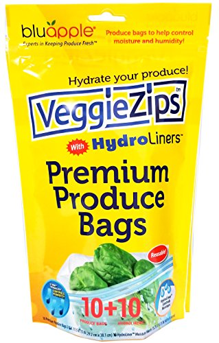 VeggieZips Premium Produce Bags by Bluapple The Experts in Produce Storage: 10 Bags + 10 HydroLiners to Keep Produce Fresh Longer - Reusable Bags Green Living, Helps to Control Humidity ()