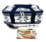 Temp-tations Insulated Tote Bag for the 11''x7'' 2.5 Quart Baker, w/ Serving Spoon & Recipe Cards - NO Baker (Old World Blue)
