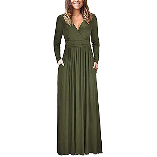 775877a107f7 Amazon.com: POTO Dresses,Women Long Sleeve V Neck Solid Long Maxi Dress, Ladies Casual Floor Length Evening Party Dress(S-XXL): Clothing