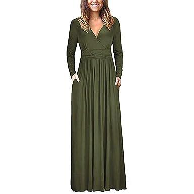 Robe Longue Femme, Manadlian Femme Robe Couleur Unie à Manches Longues  Casual Robe Hiver