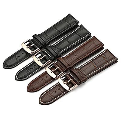iStrap Genuine Calf Leather Watch Band Alligator Grain Padded for Men Women Color & Width (18mm,19mm, 20mm,21mm,22mm or 24mm) by Qimeila