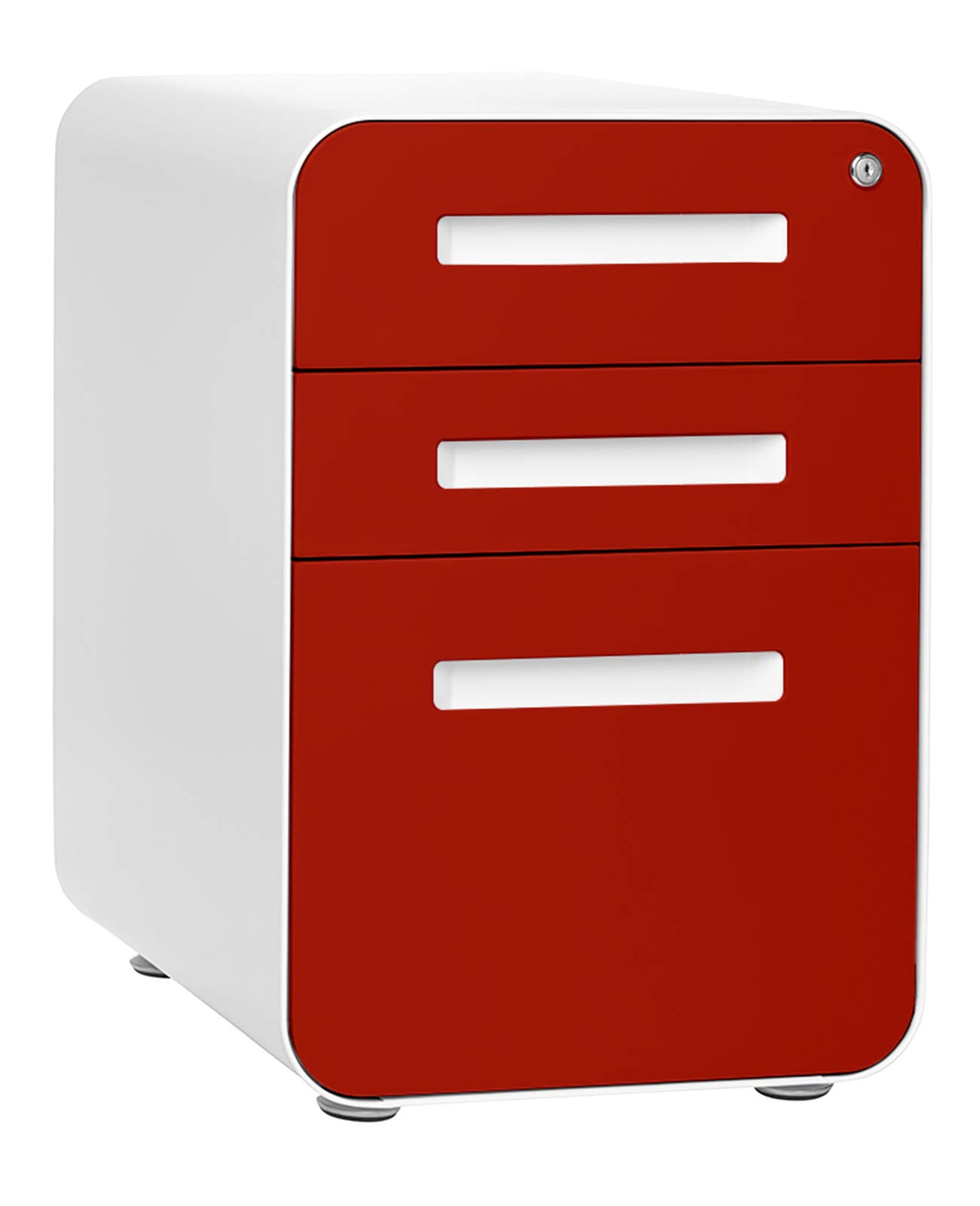 Stockpile 3-Drawer Mobile File Cabinet, Commercial-Grade, Pre-Assembled (Red Faceplate) by Laura Davidson Furniture