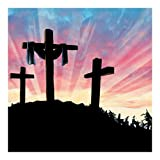 Fun Express Resurrection Cross Christian Backdrop Banner 6ft X 6ft for Church or Easter