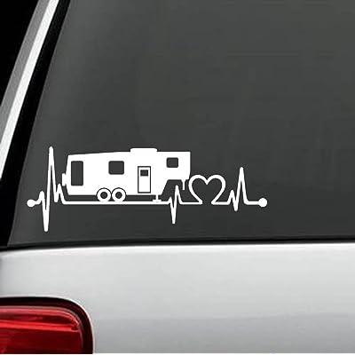 Bluegrass Decals K1151 5th Fifth Wheel Camper Travel Trailer Heartbeat Lifeline 8 Inch Decal Sticker: Automotive