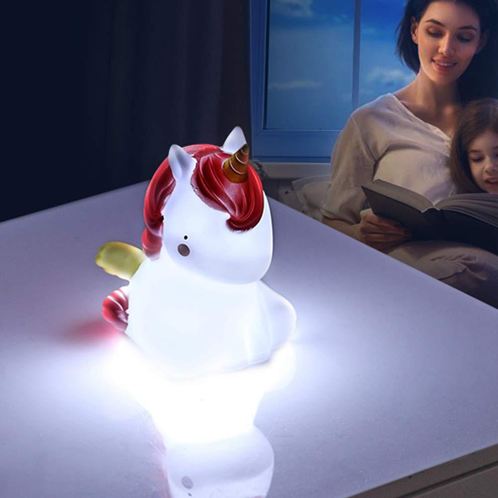 funciona con pilas l/ámpara de mesa Luz nocturna de unicornio de silicona dise/ño de dibujos animados
