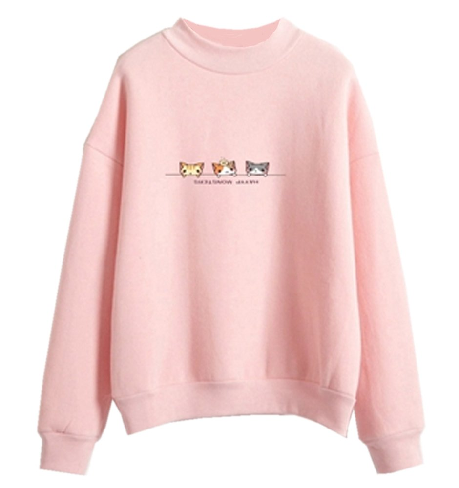 Fashiononly Pastel Kawaii Clothes Harajuku Sweaters Cats Candy Casual Sweatshirt Tops Outerwear