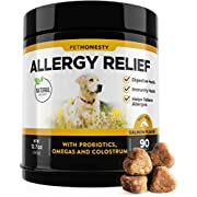 #LightningDeal Allergy Relief Immunity Supplement for Dogs - Omega 3 Salmon Fish Oil, Colostrum, Digestive Prebiotics & Probiotics - for Seasonal Allergies + Anti Itch, Skin Hot Spots Soft Chews