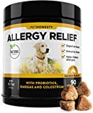 Allergy Relief Immunity Supplement for Dogs - Omega 3 Salmon Fish Oil, Colostrum, Digestive Prebiotics & Probiotics - For Seasonal Allergies + Anti Itch, Skin Hot Spots Soft Chews