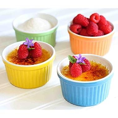 Stoneware Creme Brulee Ramekins Set Of 4, 5oz Ramikins in Beautiful Colors,Great as a Souffle Dish