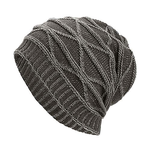 iYBUIA Women Men Warm Baggy Weave Crochet Winter Wool Knit Ski Beanie Skull Caps Hat(Gray,One Size) -