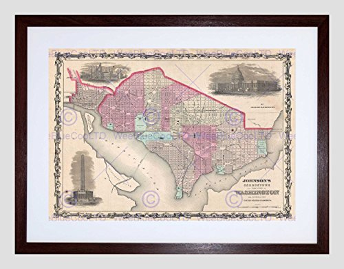 MAP ILLUSTRATED ANTIQUE WASHINGTON DC GEORGETOWN FRAMED PRINT B12X4944