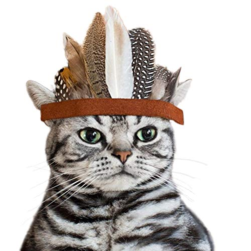 PanDaDa Pets Indians Style Feather Hat Costume Adjustable Ribbon Band Design Dog Cat Festival Cosplay Headgear Headwear Native American Indian Inspired Party Props Puppy Dress Up Pretend Play -