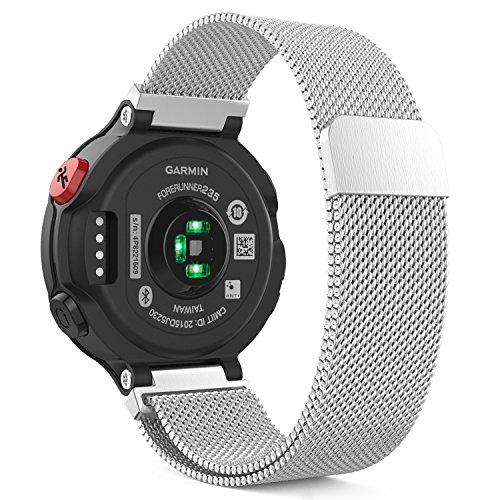 Garmin Forerunner 235 Watch Band, MoKo Milanese Loop Stainless Steel Mesh Replacement Strap Bracelet for Garmin Forerunner 235 / 220 / 230 / 620 / 630 Smart Watch, Fit 5.7-8.85, Silver