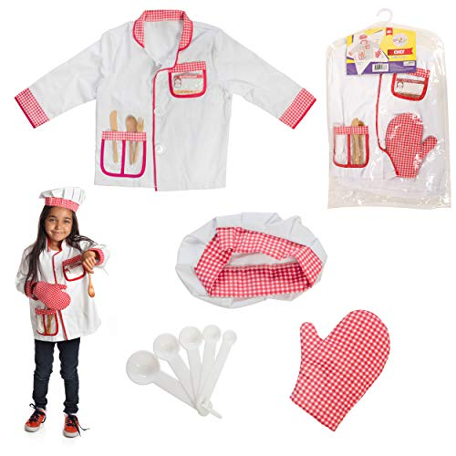 Dress to Play Chef Pretend Costume; 6 Pc Dress up Set with Accessories -