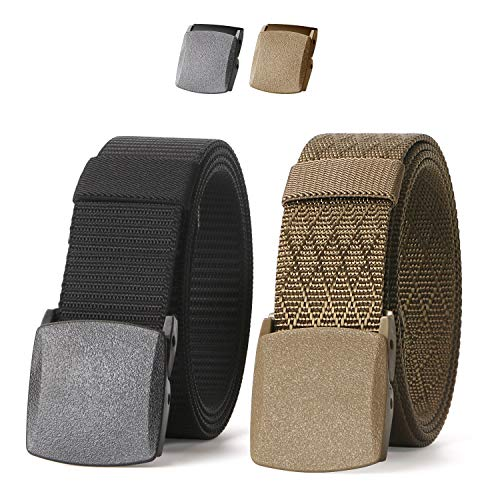JASGOOD Nylon Canvas Breathable Military Tactical Men Waist Belt With Plastic Buckle(Suit for pant size below 45Inch,02-1 Black+Khaki)