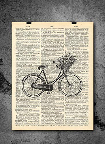 Vintage Flower Bicycle Vintage Dictionary Print 8x10 inch Home Vintage Art Abstract Prints Wall Art for Home Decor Wall Decorations For Living Room Bedroom Office Ready-to-Frame -