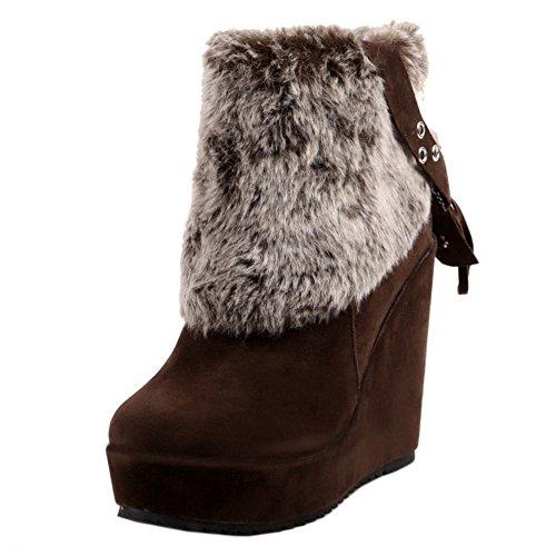 COOLCEPT Women Boots Zipper Warm Lined Brown ejngDV