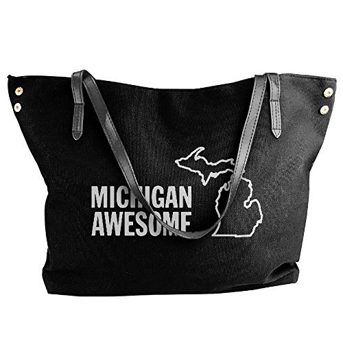 Large Handbag Women's Shoulder Black Bags MICHIGAN Tote AWESOME Messenger Canvas COxO5