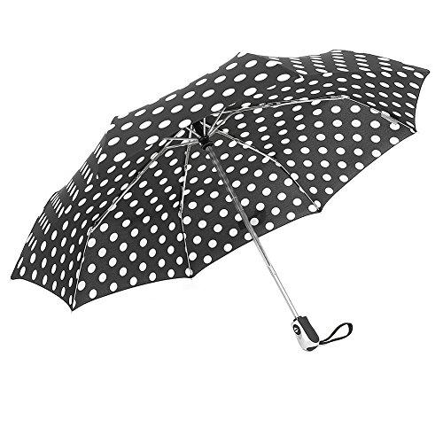 ZKDT Cute Polka Dots Tri-fold Travel Umbrella Light Weight Portable Umbrellas for Women - Dots Polka Cute