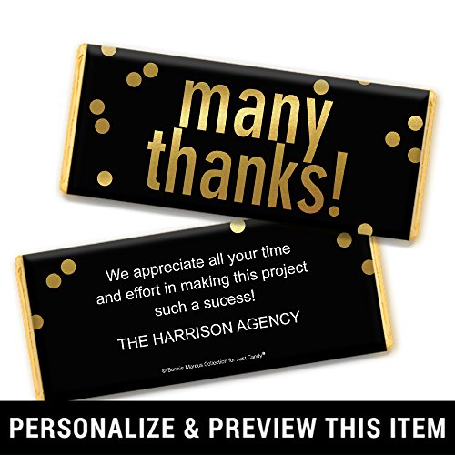 Thank You Favors Personalized Chocolate Bar Wrappers - Gold Foil (25 -