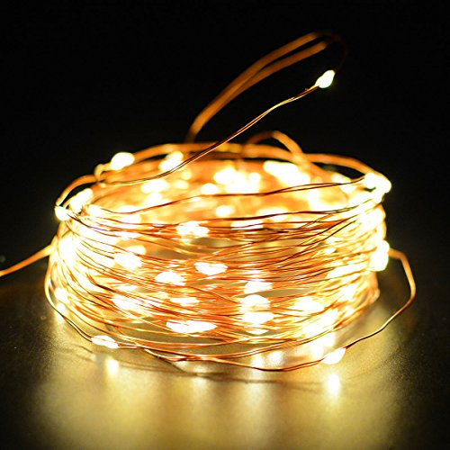 Solar Powered String Lights 100 LED Copper Wire Starry String Lights Outdoor Waterproof Solar Decoration Lights Ambiance lighting for Halloween, Gardens, Home, Dancing, Party, Christmas (Warm White)