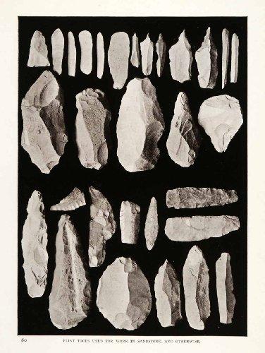 1906-print-flint-tools-sandstone-archeology-sinai-egypt-mines-turquoise-geology-original-halftone-pr