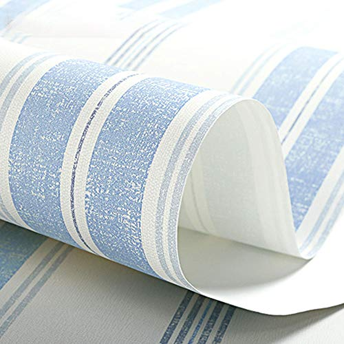 Retro children's bedroom wallpaper boy non-woven wallpaper striped warm (Color : Ocean blue) ()