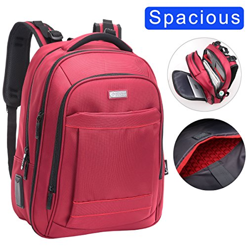 "CrossLandy Extra Large Computer Backpacks for Laptops for 15.6"" Laptop for Men Women Business Travel Backpacks Water Resistant Red"