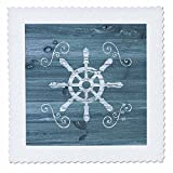 3dRose Russ Billington Nautical Designs - Ships Wheel with scrolls in White on Blue Weatherboard- Not Real Wood - 18x18 inch quilt square (qs_261838_7)