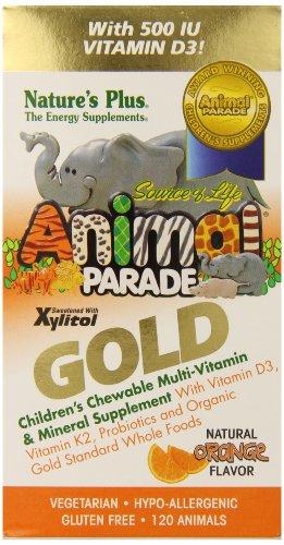 SOL Animal Parade Gold-Children's Multi-Vitamin & Mineral Orange Flavor Nature's - 120 ct (Animal Parade Orange Flavor)
