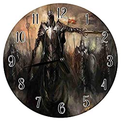 Etonmars Fantasy World Wall Clock General Leading His Army in War Medieval Armored Knight Kingdom Ancient Fantasy Silent Round Wall Clock for Home Office Bedroom 10in