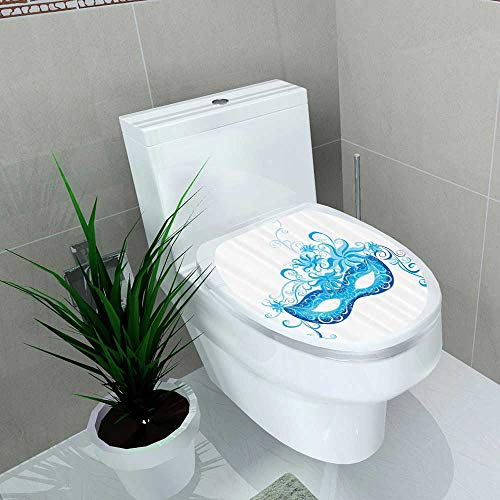 Printsonne Bathroom Removable PVC Venetian Mask Majestic Impersating Enjoying Halloween Theme Vinyl Removable Bathroom W12 x L14 -